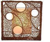Jeffan Cascade 24 in. Dark Brown Wall Sconce With Natural Rattan Weave