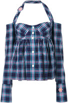 Natasha Zinko plaid halterneck top - women - Cotton - 34