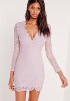 Missguided Crochet Long Sleeve Bodycon Dress Lilac