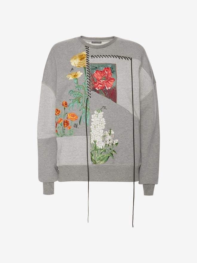 Alexander McQueen Pieced Embroidered Sweatshirt