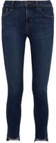 J Brand 811 Frayed Mid-rise Skinny Jeans - Mid denim