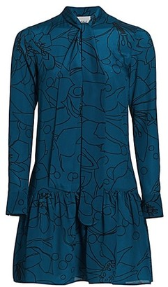 Akris Punto Printed Mulberry Silk Tieneck Dress