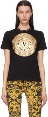 Versace Jeans Couture Black and Gold V-Emblem T-Shirt