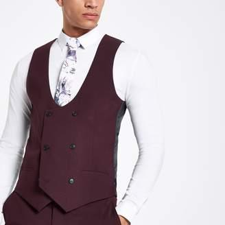 River Island Mens Purple stretch fit suit waistcoat