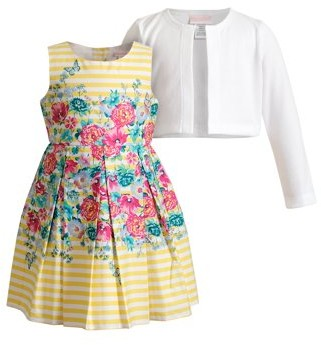 Youngland Toddler Girls Sleeveless Floral Easter Dress & Knit Shrug, 2pc set