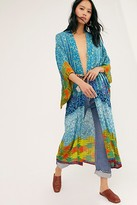 Free People Seven Wonders Maxi Kimono by Free People, Turquoise Combo, One Size