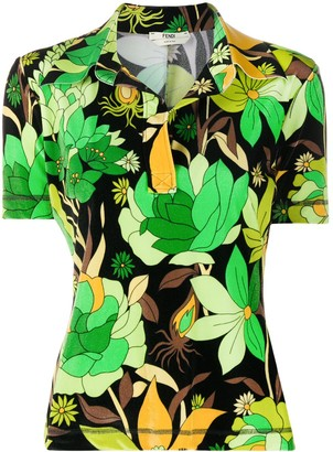 Fendi Tropical Print Polo Shirt