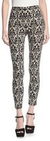 Alice + Olivia Royce Side-Zip Damask Jacquard Leggings