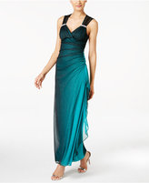 Betsy & Adam B & A by Ombre Open-Back Glitter Gown