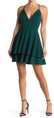 Love, Nickie Lew V-Neck Lace Back Skater Dress