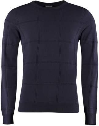 Giorgio Armani Check Motif Crew-neck Pullover