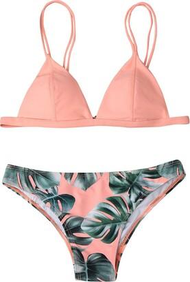 Writtian Baby Writtian Womens Push Up Bikini Set Swimwear with Leaf Random Print Sexy Plants Print Swimsuit Padded Beachwear