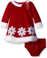 Bonnie Jean Baby Girls White Snowflake Santa Christmas Dress 24M