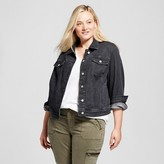 Women's Plus Size Denim Jacket Black - Mossimo Supply Co. (Juniors')