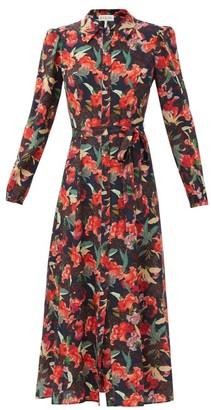 Saloni Vanessa-b Dusk Moonflower-print Silk Shirt Dress - Burgundy Multi