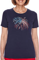 Sag Harbor American Dream Short-Sleeve Embroidered Fireworks Top