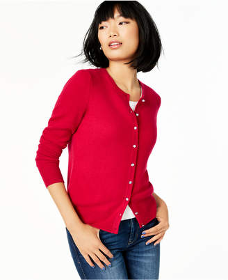 Charter Club Petite Cashmere Crystal-Button Cardigan