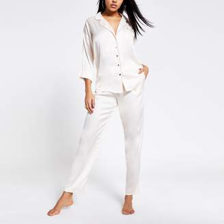 River Island Womens Cream loose fit satin pyjama trousers