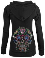 Interstate Apparel Junior's Rhinestone Day Of The Dead Sugar Skull Thermal Zipper Hoodie