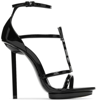 Saint Laurent Black Cassandra Heeled Sandals