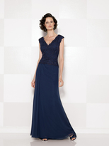 Mon Cheri Cameron Blake - V Neck Long Dress with Slit 114666