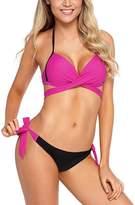 Zesica Women's Bikini Bottoms Rosy - Rosy Wrap-Front Side-Tie Halter Bikini - Women