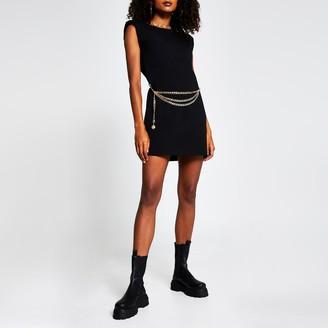 River Island Womens Black sleeveless shoulder pad t-shirt dress