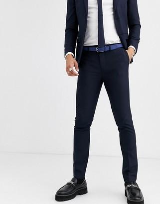 Topman skinny suit pants in navy