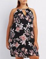 Charlotte Russe Plus Size Floral Bib Neck Shift Dress