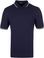 Fred Perry M3600 Twin Tipped Carbon Blue & Ivy Pique Polo Shirt