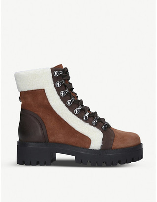 Steve Madden Groove faux shearling-trim faux-leather ankle boots