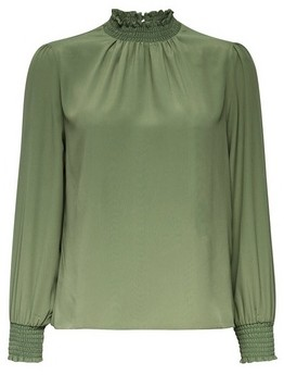 Dorothy Perkins Womens Dp Petite Khaki Shirred Neck Top, Khaki
