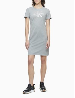 Calvin Klein Metallic Monogram Logo T-Shirt Dress