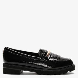 Moda In Pelle Edeena Black Patent Fringed Loafers