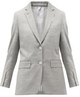 Burberry Single-breasted Wool-blend Jersey Jacket - Womens - Grey