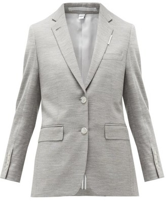 Burberry Single-breasted Wool-blend Jersey Jacket - Grey