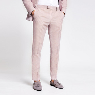River Island Pink textured skinny suit trousers