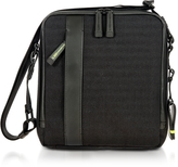 Bric's Black Nylon and Leather Crossbody Bag