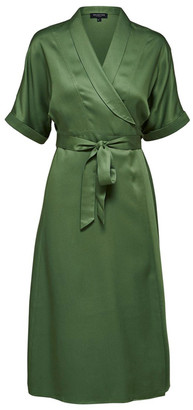 Selected Green Silky Midi Dress - 34/6