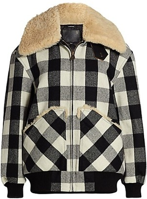 R 13 Exaggerated Shearling Collar Plaid Bomber Jacket