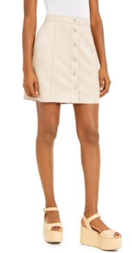 Bar III Faux-Suede Button-Front Mini Skirt, Created for Macy's