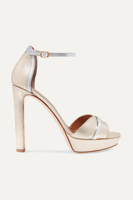 Malone Souliers Miranda 125 Metallic Leather Platform Sandals - Gold