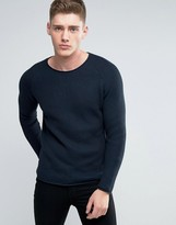 Lindbergh Sweater With Loose Knit In Navy