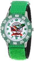 Disney Kids' W000879 Planes Fire & Rescue El Chupacabra Stainless Steel Time Teacher Green Bezel Green Nylon Strap Watch