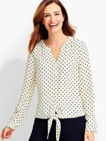Talbots Tie-Front Blouse-Dot Print