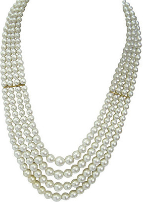 One Kings Lane Vintage Multi-Strand Glass Pearl Necklace - Wisteria Antiques Etc - gold/pearl
