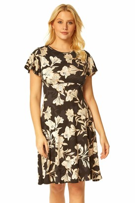 Roman Originals Womens Lily Print Jersey Dress - Ladies Smart Casual Office Work Short Sleeve Knee Length Dresses Gather Detail Fit and Flare Shape Frock - Stone - Size 16
