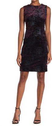 T Tahari Foil Print Velvet Sheath Dress