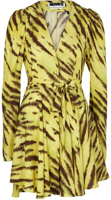 Rotate by Birger Christensen Emma Yellow Printed Mini Dress