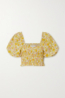 Faithfull The Brand Net Sustain Robina Cropped Shirred Floral-print Linen Top - Yellow